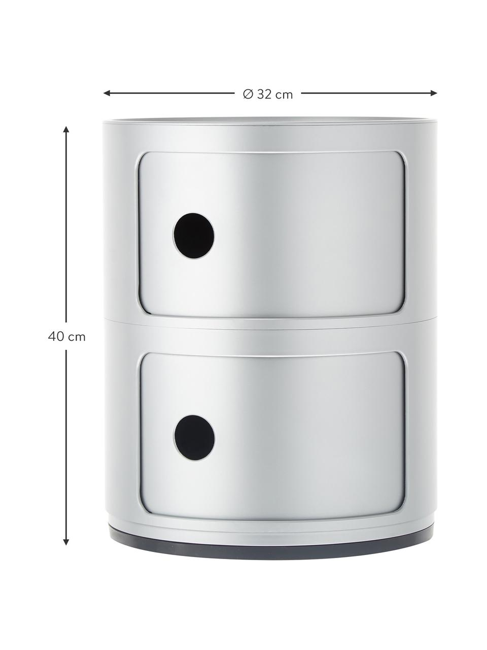 Comodino contenitore di design con 3 cassetti Componibili, Materiale sintetico (ABS), verniciato, Argentato, Ø 32 x Alt. 40 cm
