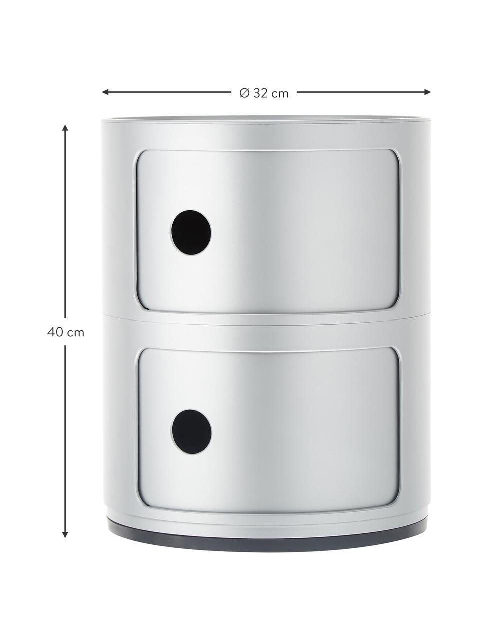 Design Container Componibili 2 Fächer, Kunststoff, Silberfarben, Ø 32 x H 40 cm
