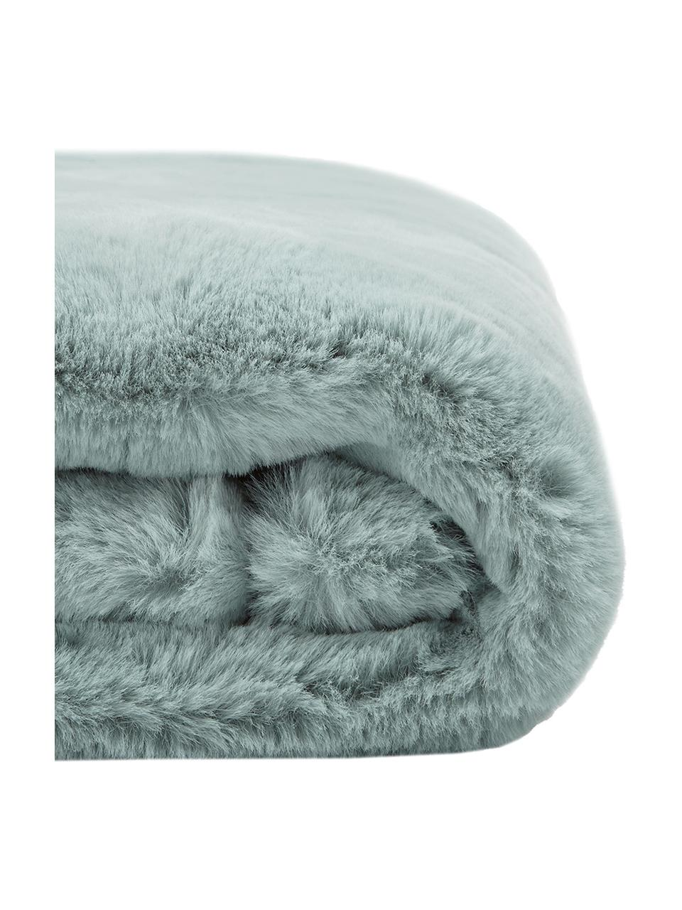 Kuscheldecke Mette aus Kunstfell in Salbeigrün, Vorderseite: 100% Polyester, Rückseite: 100% Polyester, Salbeigrün, 150 x 200 cm
