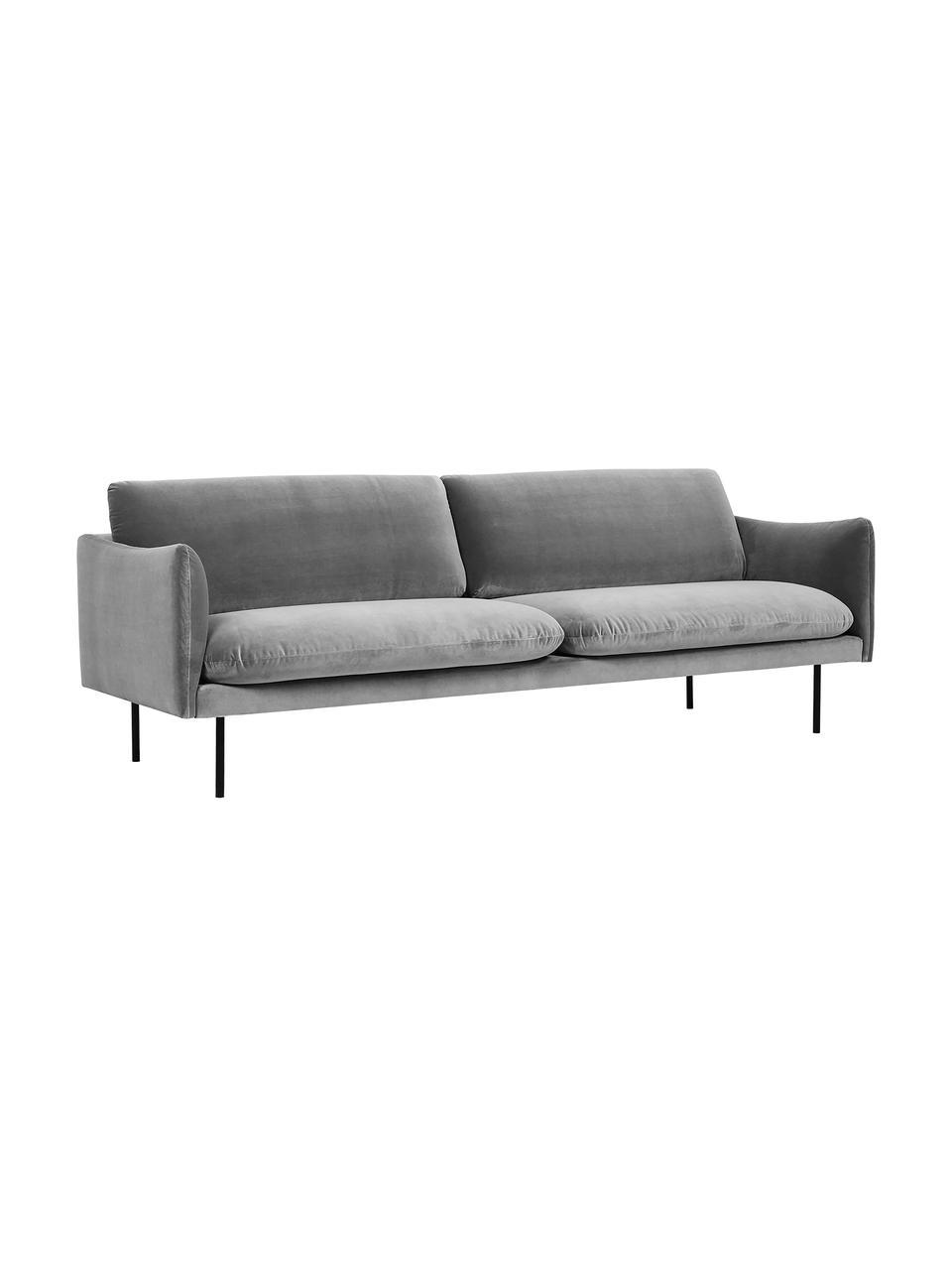 Canapé 3places velours gris pieds en métal Moby, Velours gris