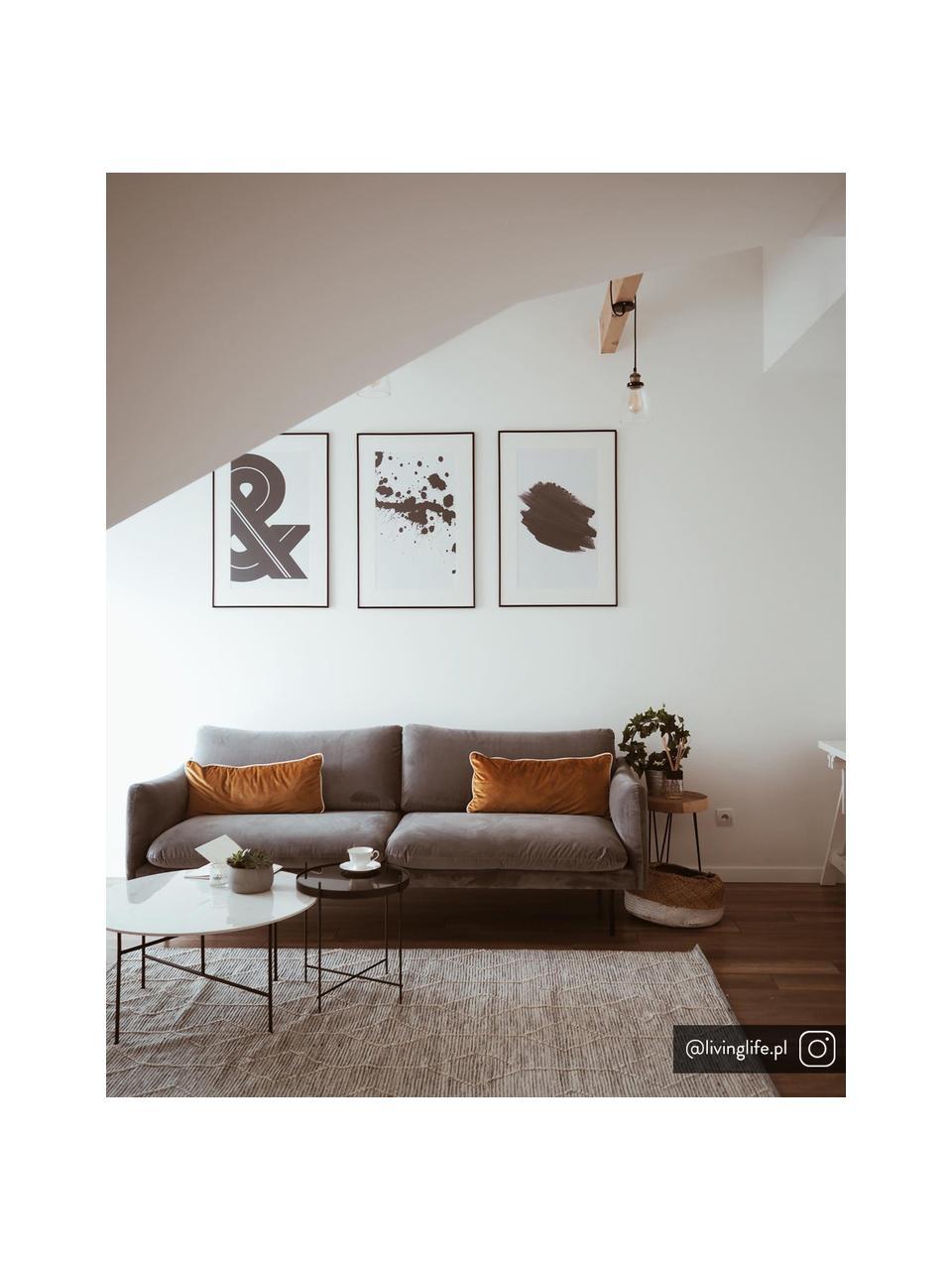 Fluwelen bank Moby (3-zits) in grijs met metalen poten, Bekleding: fluweel (hoogwaardig poly, Frame: massief grenenhout, Poten: gepoedercoat metaal, Fluweel grijs, B 220 x D 95 cm