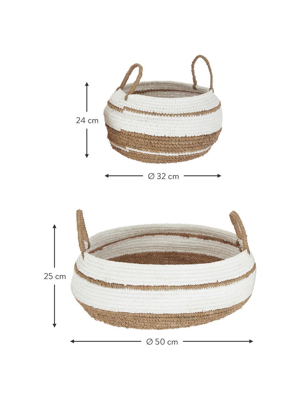 Set 2 cestini Ibiza, Paglia, Marrone, bianco, Set in varie misure