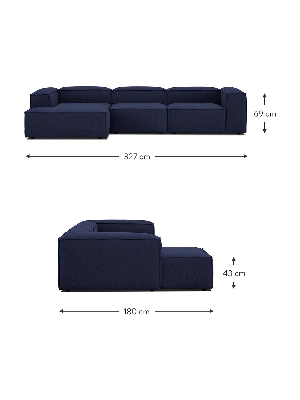 Narożna sofa modułowa Lennon, Tapicerka: 100% poliester Dzięki tka, Stelaż: lite drewno sosnowe, skle, Nogi: tworzywo sztuczne Nogi zn, Niebieski, S 327 x G 180 cm