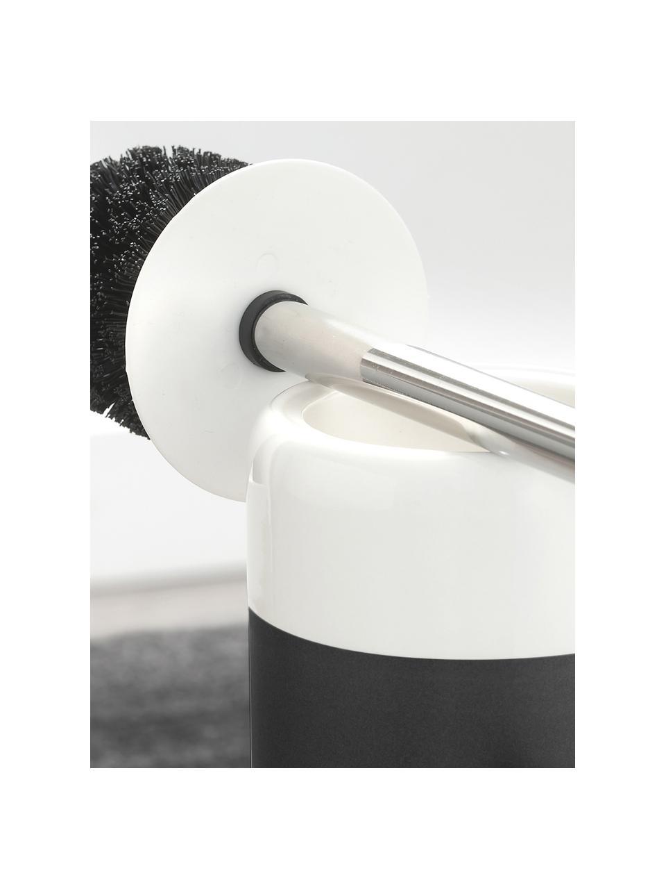 Toilettenbürste Sphere mit Porzellan-Behälter, Gefäß: Porzellan, Gefäß: Schwarz, WeißToilettenbürste: Edelstahl, Ø 10 x H 38 cm