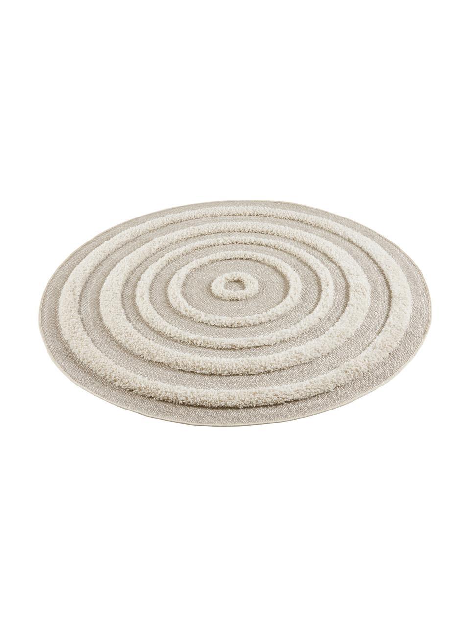 Okrągły dywan wewnętrzny/zewnętrzny z wypukłą strukturą Nador, 100% polipropylen, Beżowy, odcienie kremowego, Ø 160 cm (Rozmiar L)