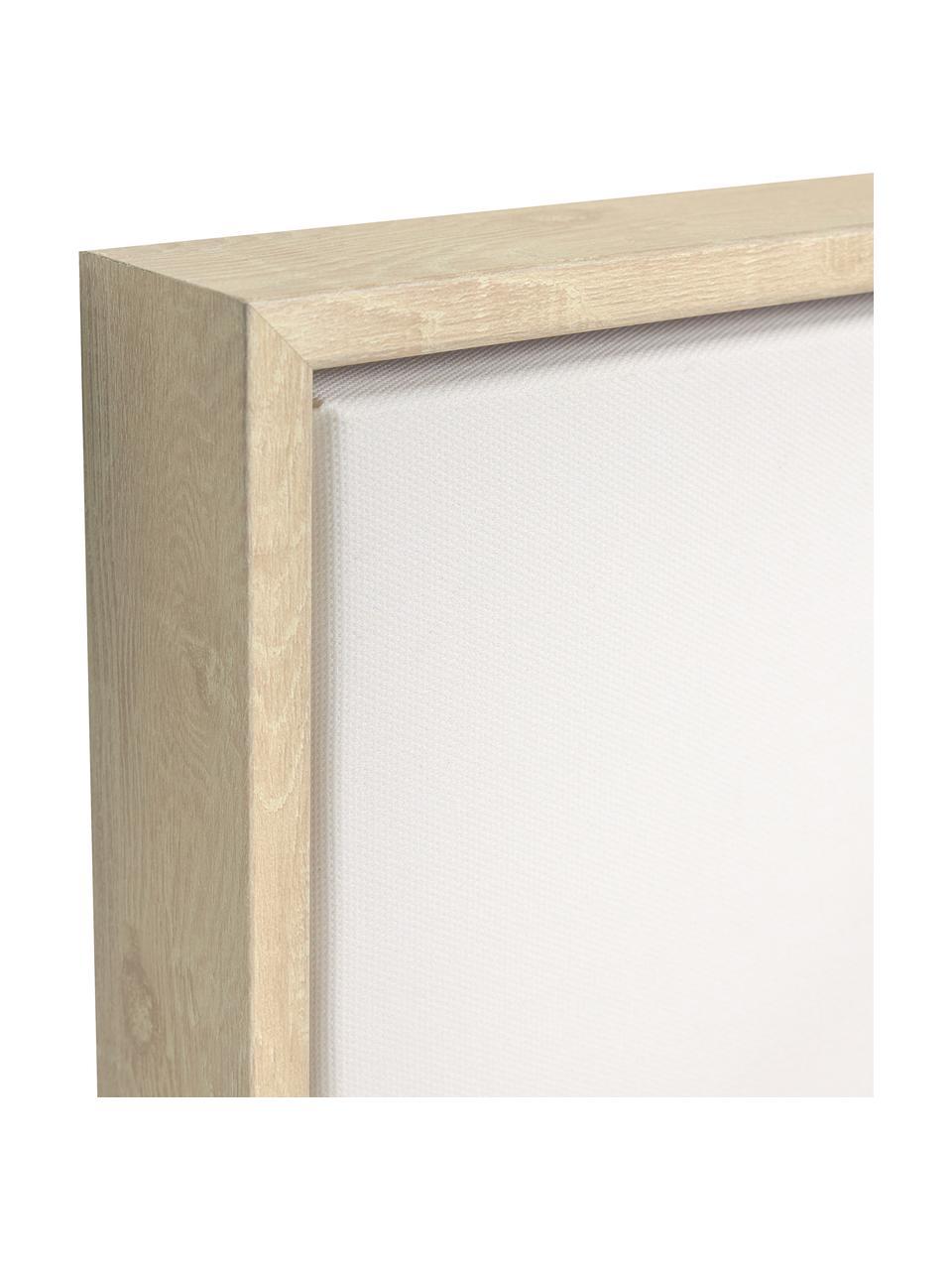 Gerahmter Digitaldruck Izem Flower, Rahmen: Mitteldichte Holzfaserpla, Bild: Leinwand, Weiß, Beige, Rosa, 50 x 70 cm