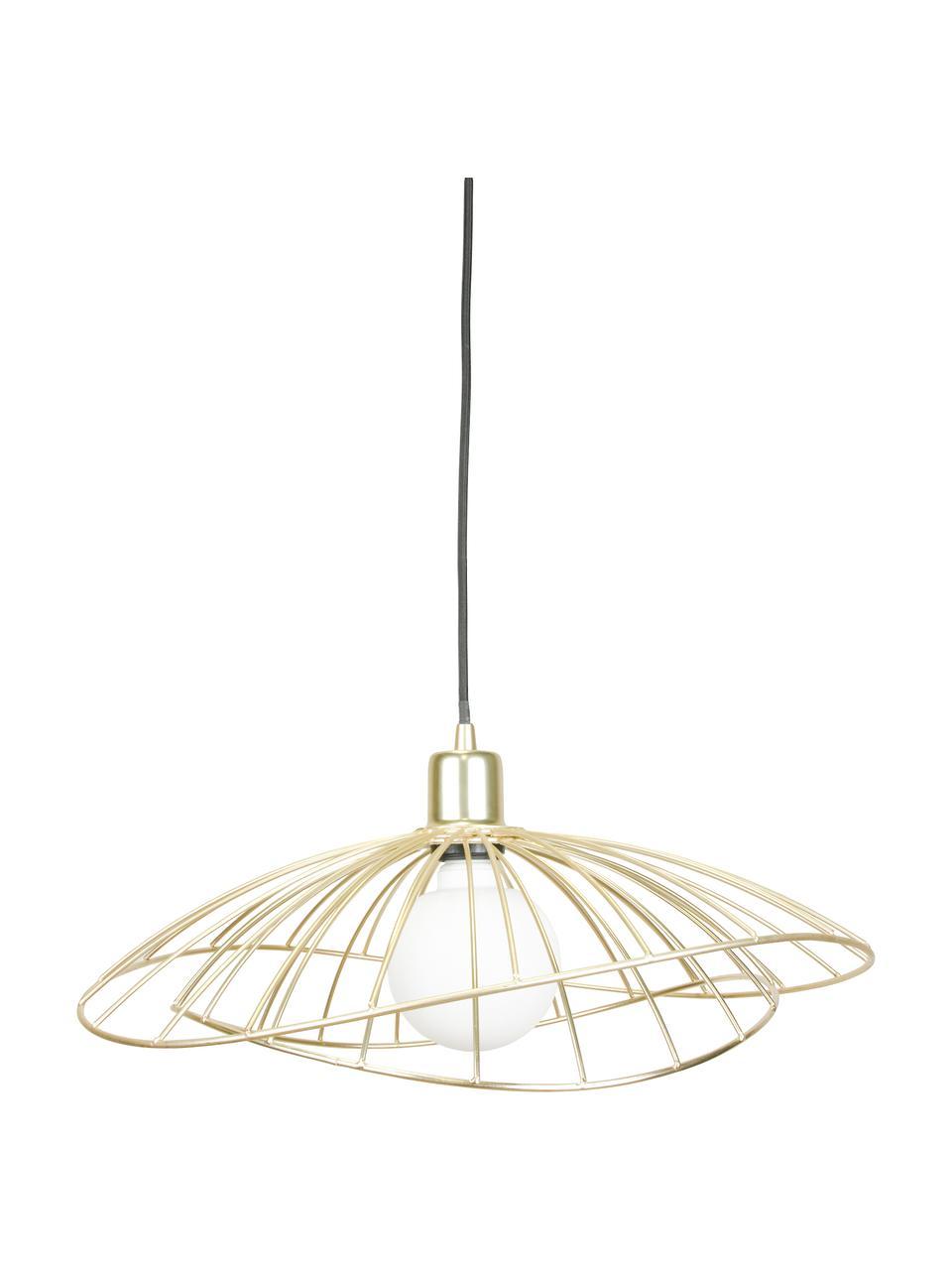 Lampada a sospensione di design Ray, Paralume: metallo ottonato e spazzo, Baldacchino: metallo verniciato, Ottonato spazzolato, Ø 45 x Alt. 25 cm