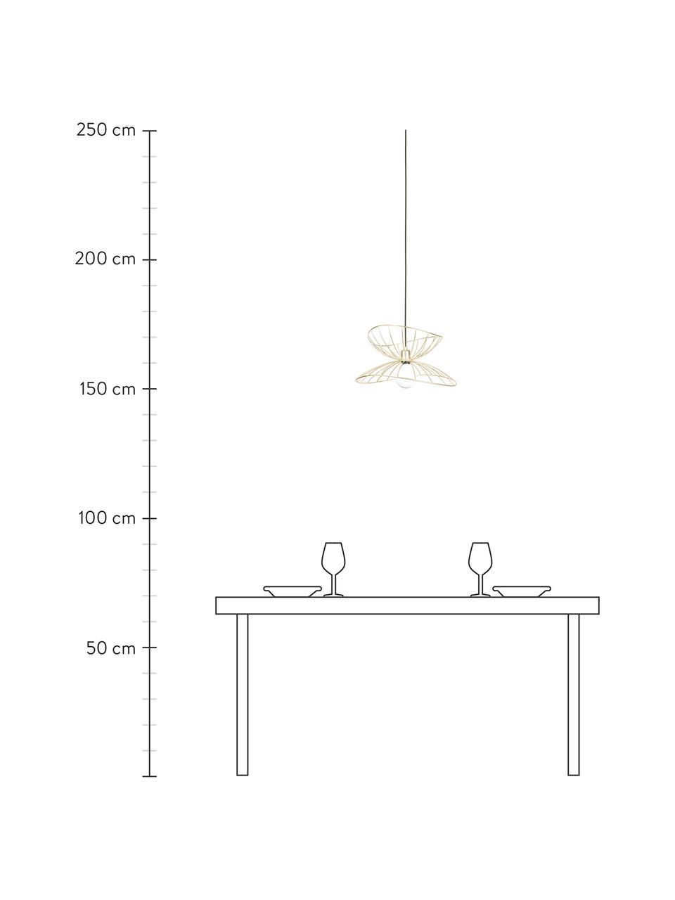 Design hanglamp Ray, Lampenkap: vermessingd en geborsteld, Baldakijn: gelakt metaal, Geborsteld messingkleurig, Ø 45  x H 25 cm