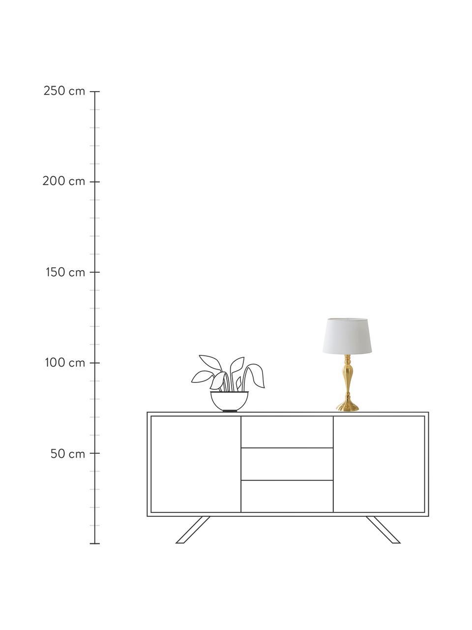 Lampada da tavolo con paralume in cotone Brighton, Paralume: cotone, Base della lampada: metallo verniciato, Bianco, ottonato, Ø 25 x Alt. 52 cm