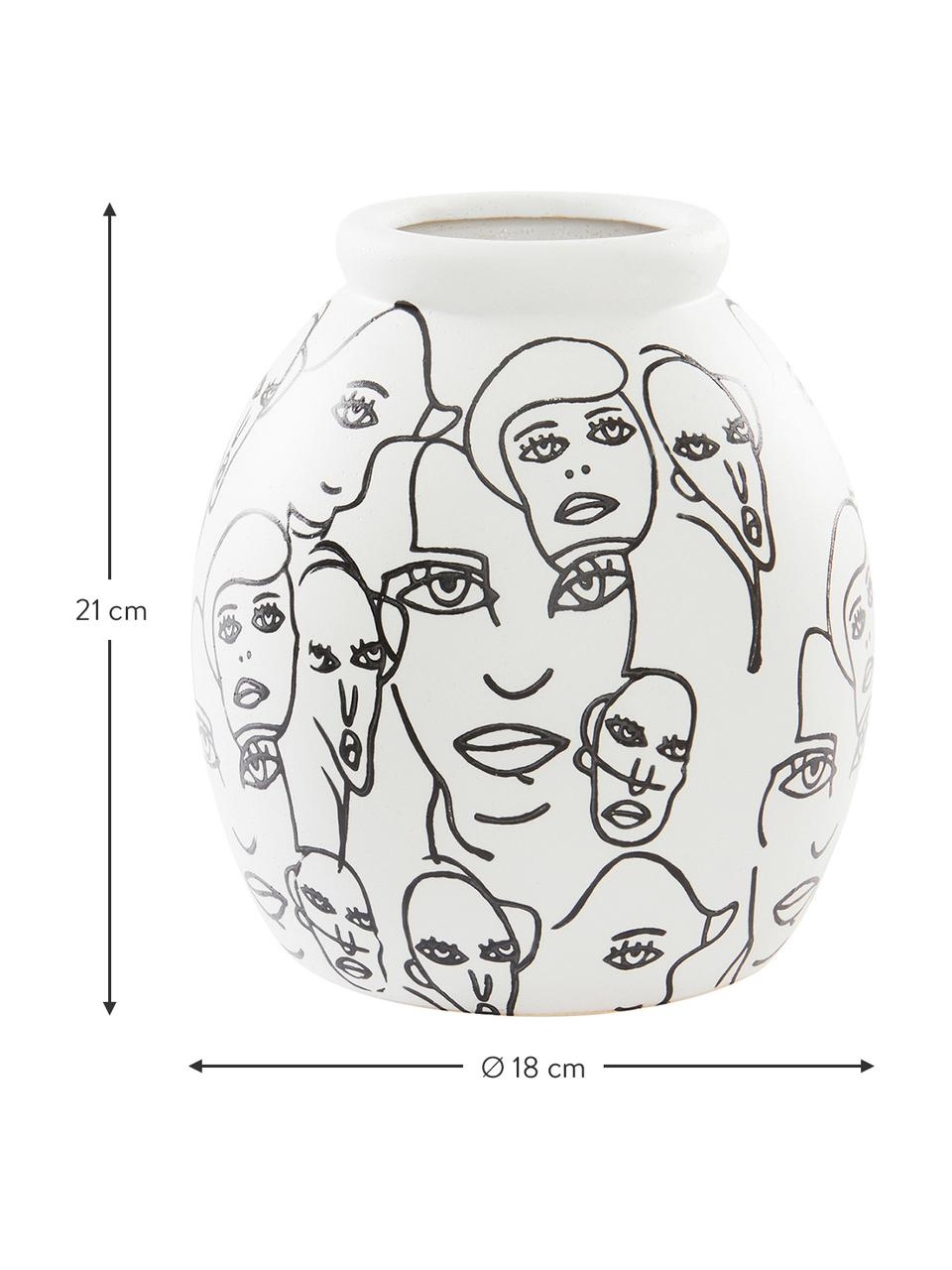 Keramik-Vase People in Weiß und Schwarz, Keramik, Weiß, Schwarz, Ø 18 x H 21 cm