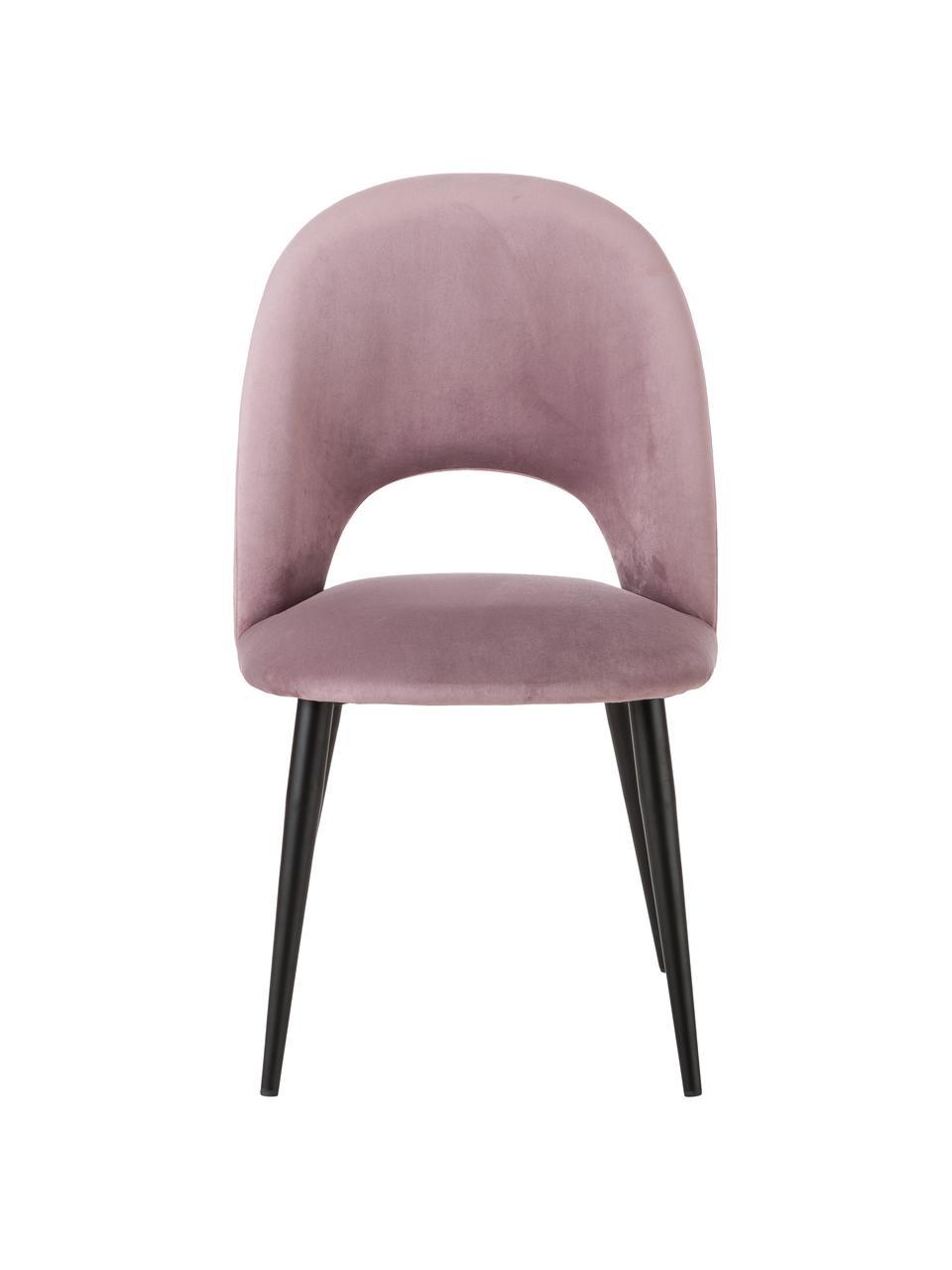 Sedia imbottita in velluto color malva Rachel, Rivestimento: (100% poliestere) Con 50., Gambe: metallo verniciato a polv, Velluto rosa, Larg. 53 x Prof. 57 cm