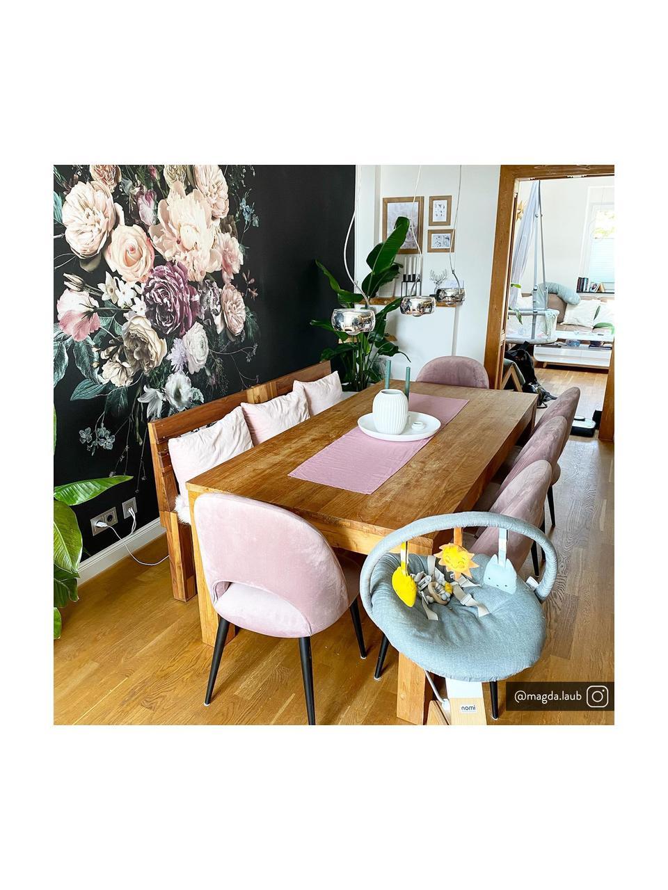 Krzesło tapicerowane z aksamitu Rachel, Tapicerka: aksamit (poliester) Dzięk, Nogi: metal malowany proszkowo, Aksamitny mauve, S 53 x G 57 cm