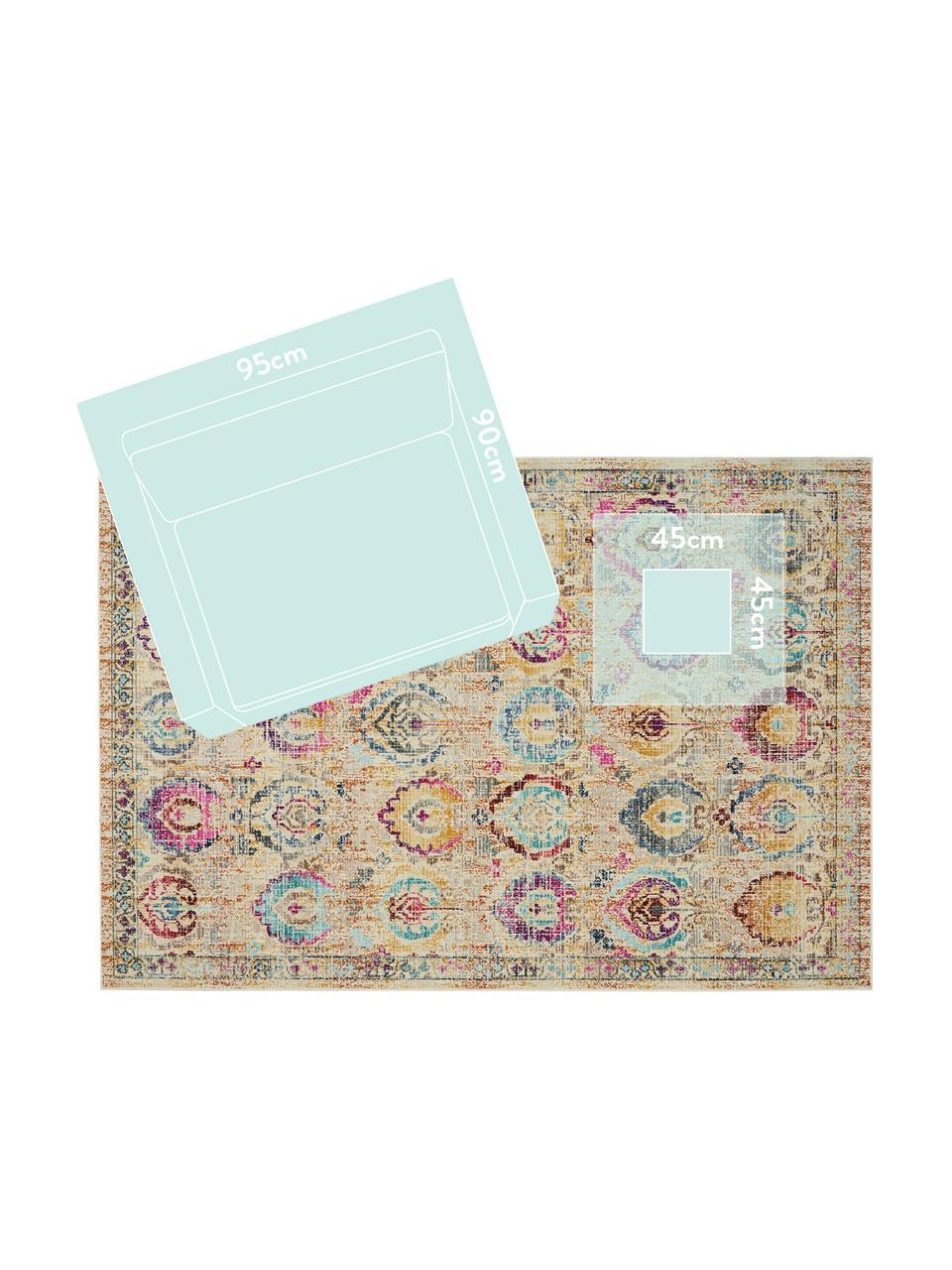 Niederflor-Teppich Kashan Vintage mit bunten Ornamenten, Flor: 100% Polypropylen, Beige, Mehrfarbig, B 160 x L 240 cm (Größe M)