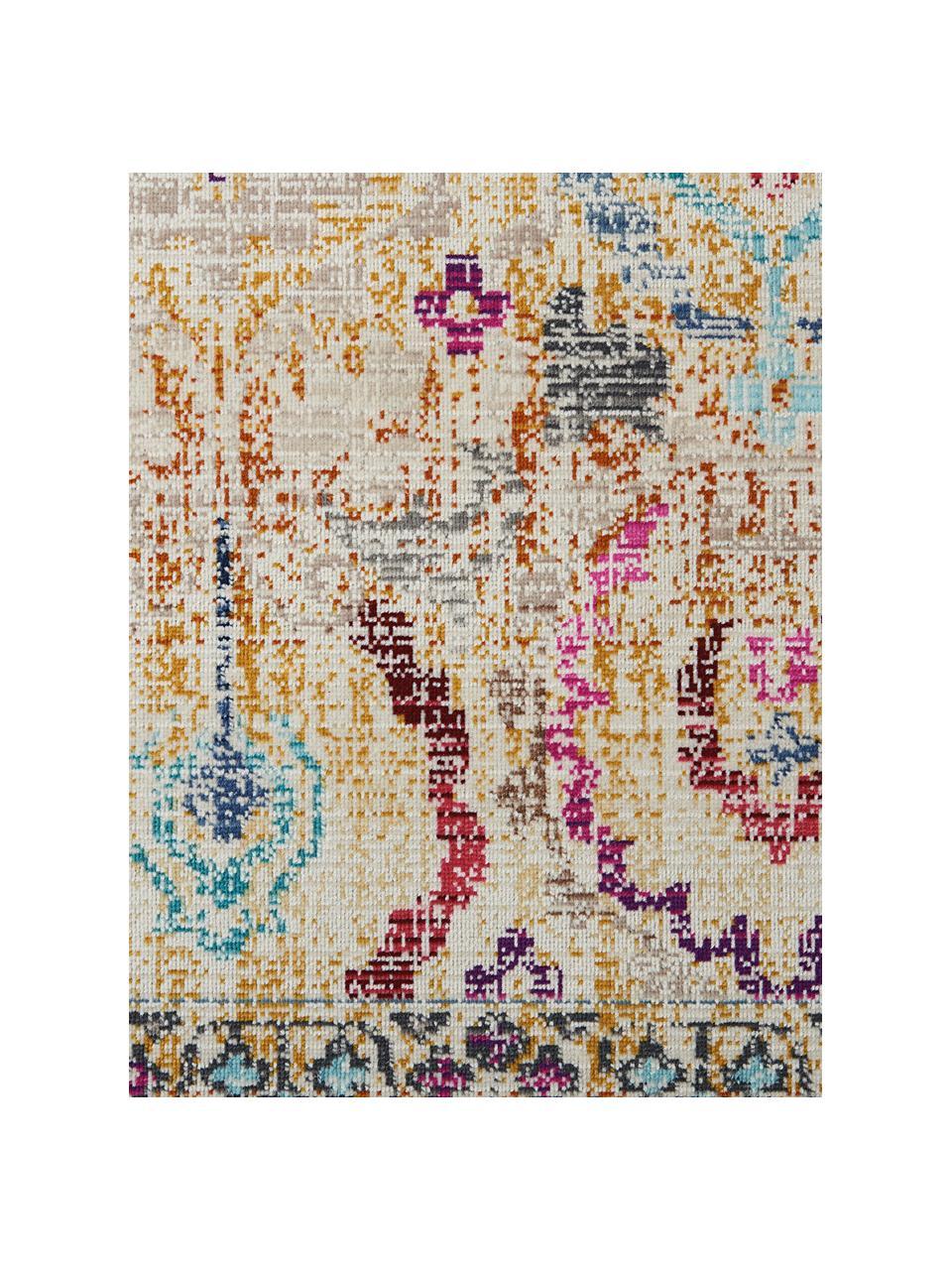 Tappeto a pelo corto con ornamenti colorati Kashan Vintage, Retro: lattice, Beige, multicolore, Larg. 270 x Lung. 360 cm (taglia XL)