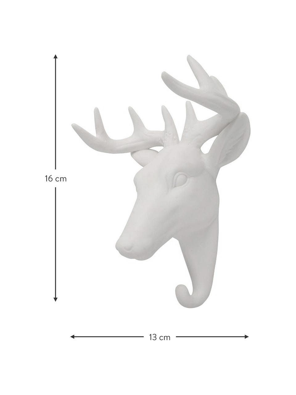 Wandhaken Deer aus Porzellan, Porzellan, Weiß, H 16 cm