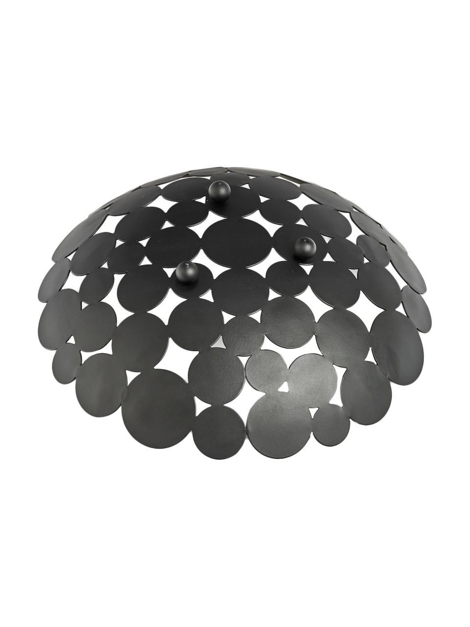 Schwarze Aufbewahrungsschale Drops, Metall, beschichtet, Schwarz, Ø 29 x H 9 cm