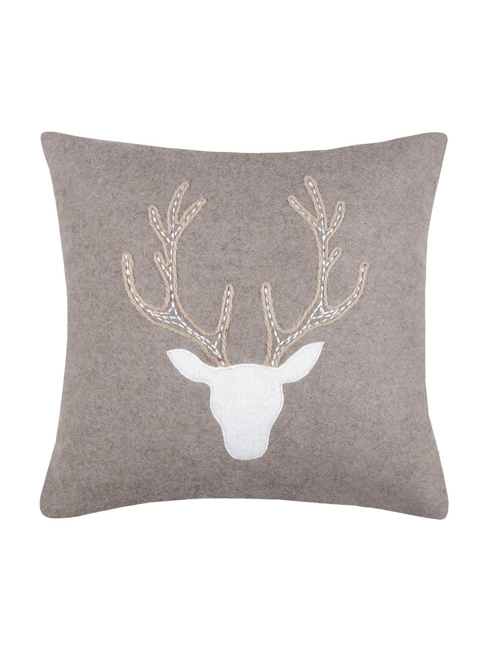 Cuscino con motivo cervo e imbottitura Tamber, Rivestimento: 50% cotone, 32% lana, 7% , Grigio, Larg. 40 x Lung. 40 cm