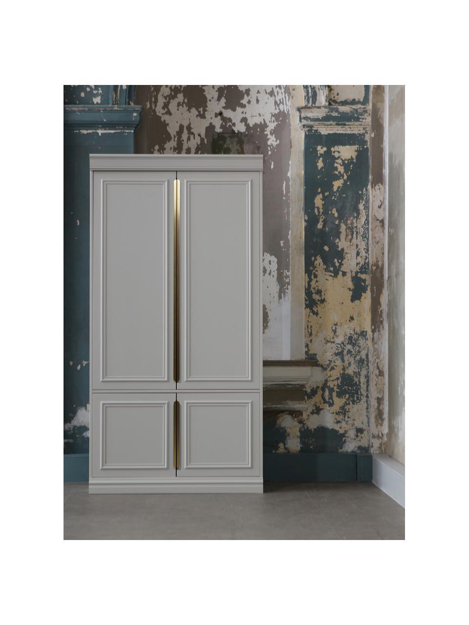 Kleiderschrank Organize mit vier Einlegeböden, Korpus: Kiefernholz, lackiert, Griffe: Metall, beschichtet, Grau, Weiß, 110 x 215 cm