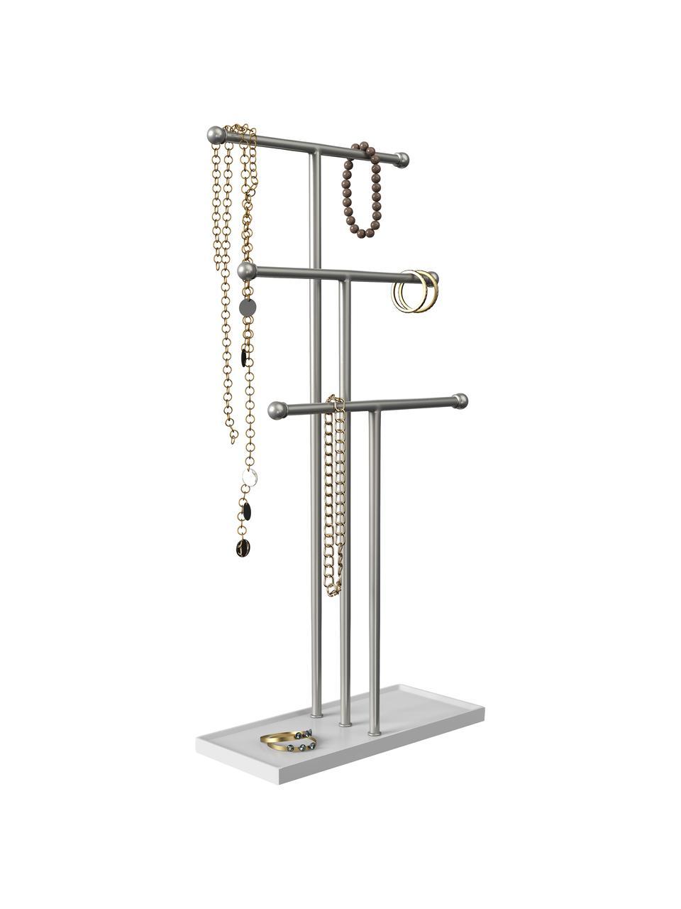 Stojak na biżuterię Trigem, Stelaż: metal niklowany, Nogi: metal lakierowany, Nikiel, biały, S 23 x W 48 cm