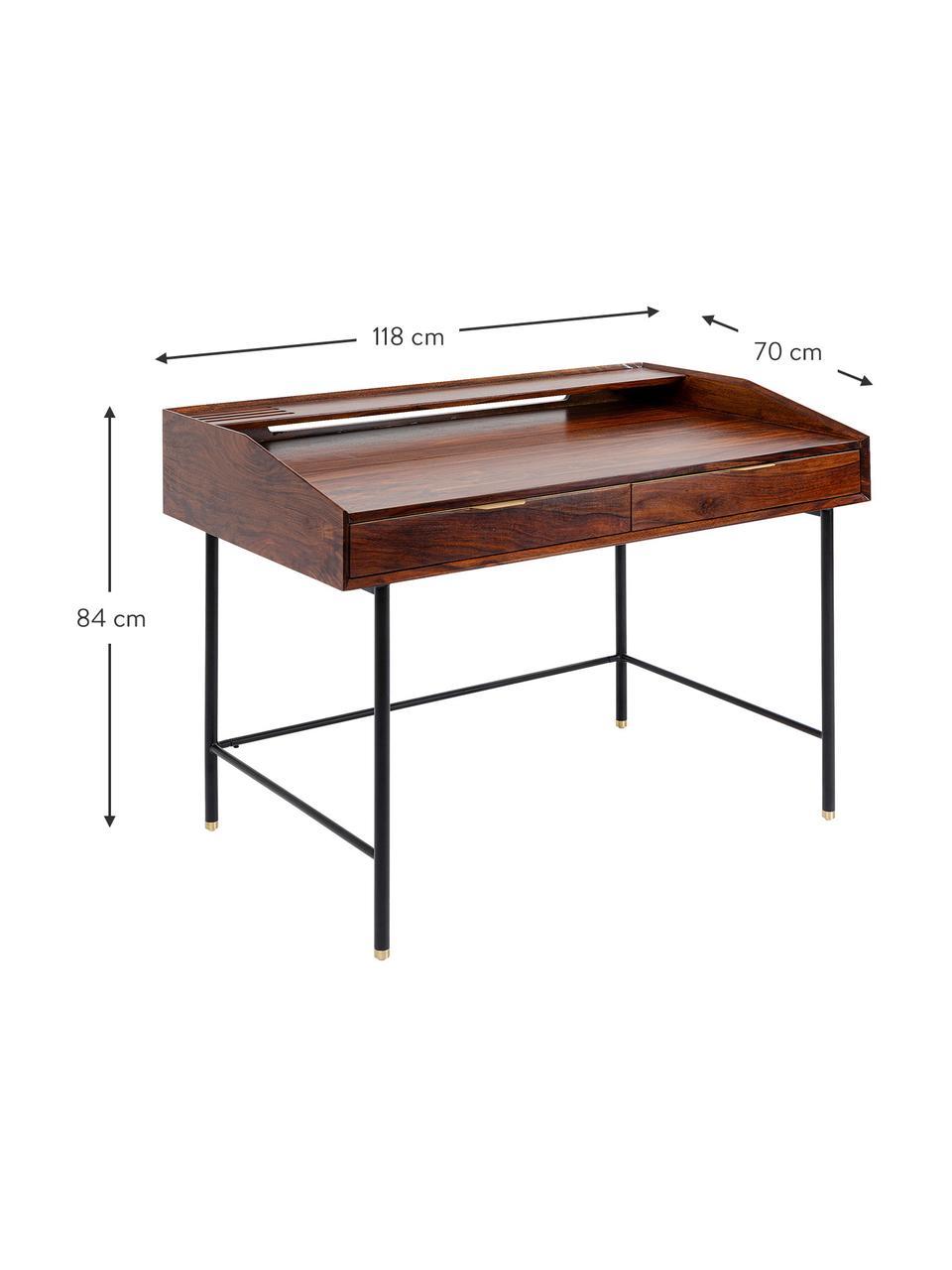 Houten bureau Ravello met lades, Frame: massief sheesham hout, ge, Poten: gepoedercoat staal, Handvatten: gepoedercoat staal, Bruin, B 118 x D 70 cm