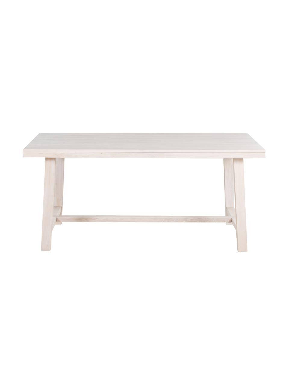 Table extensible en chêne massifBrooklyn, 170 - 220 x 95 cm, Bois de chêne, blanc délavé