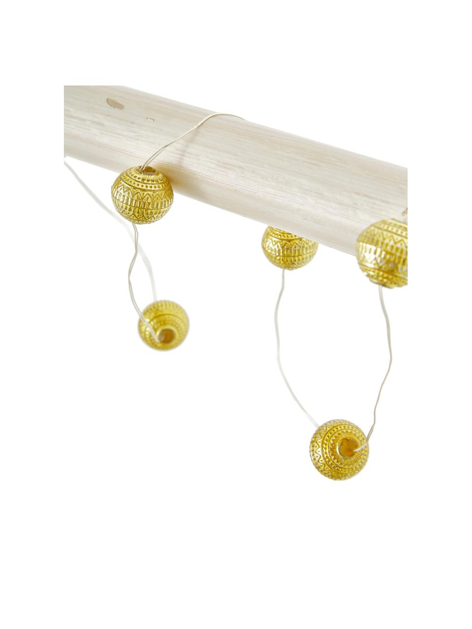 LED-Lichterkette Beads, 120 cm, 10 Lampions, Lampions: Acryl, Goldfarben, L 120 cm