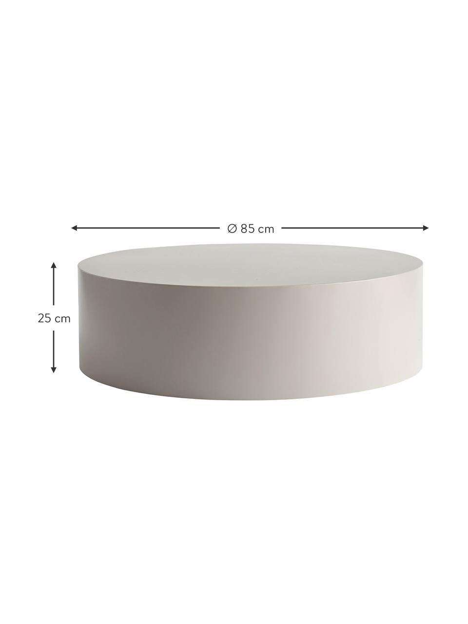 Tavolino rotondo da salotto in metallo grigio chiaro Metdrum, Metallo, Grigio chiaro, Ø 85 x Alt. 25 cm