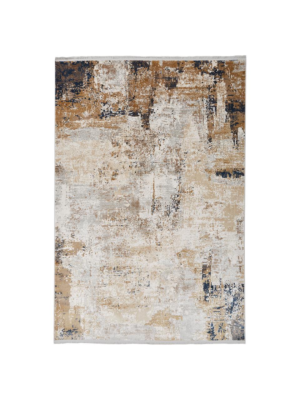 Teppich Verona mit abstraktem Muster, Flor: 50% Viskose, 50% Acryl, Creme, Beige, Grau, Braun, Dunkelblau, B 160 x L 230 cm (Größe M)