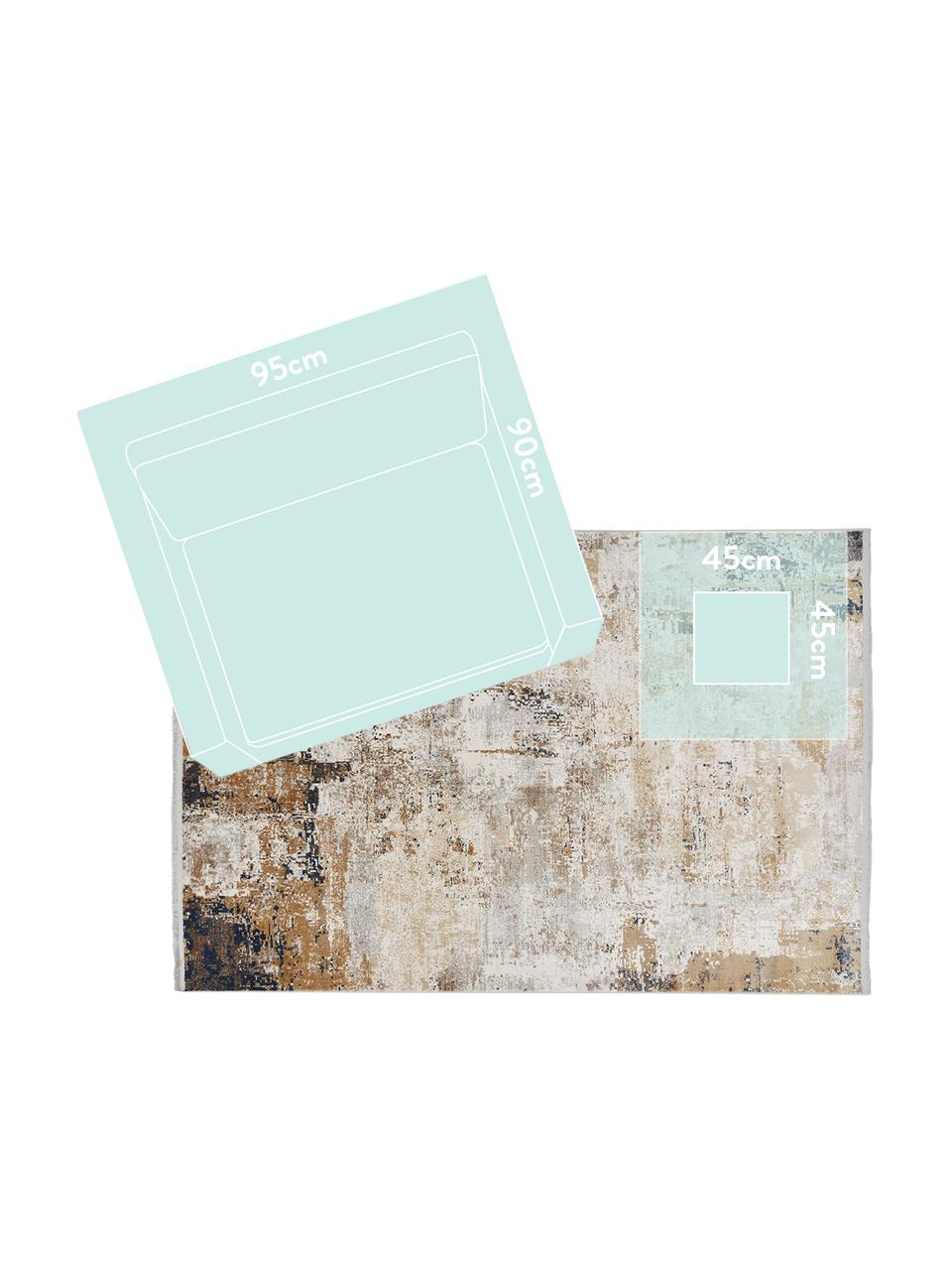 Vloerkleed Verona met abstract patroon, Bovenzijde: 50% viscose, 50% acryl, Onderzijde: polyester, Crèmekleurig, beige, grijs, bruin, donkerblauw, B 160 x L 230 cm (maat M)