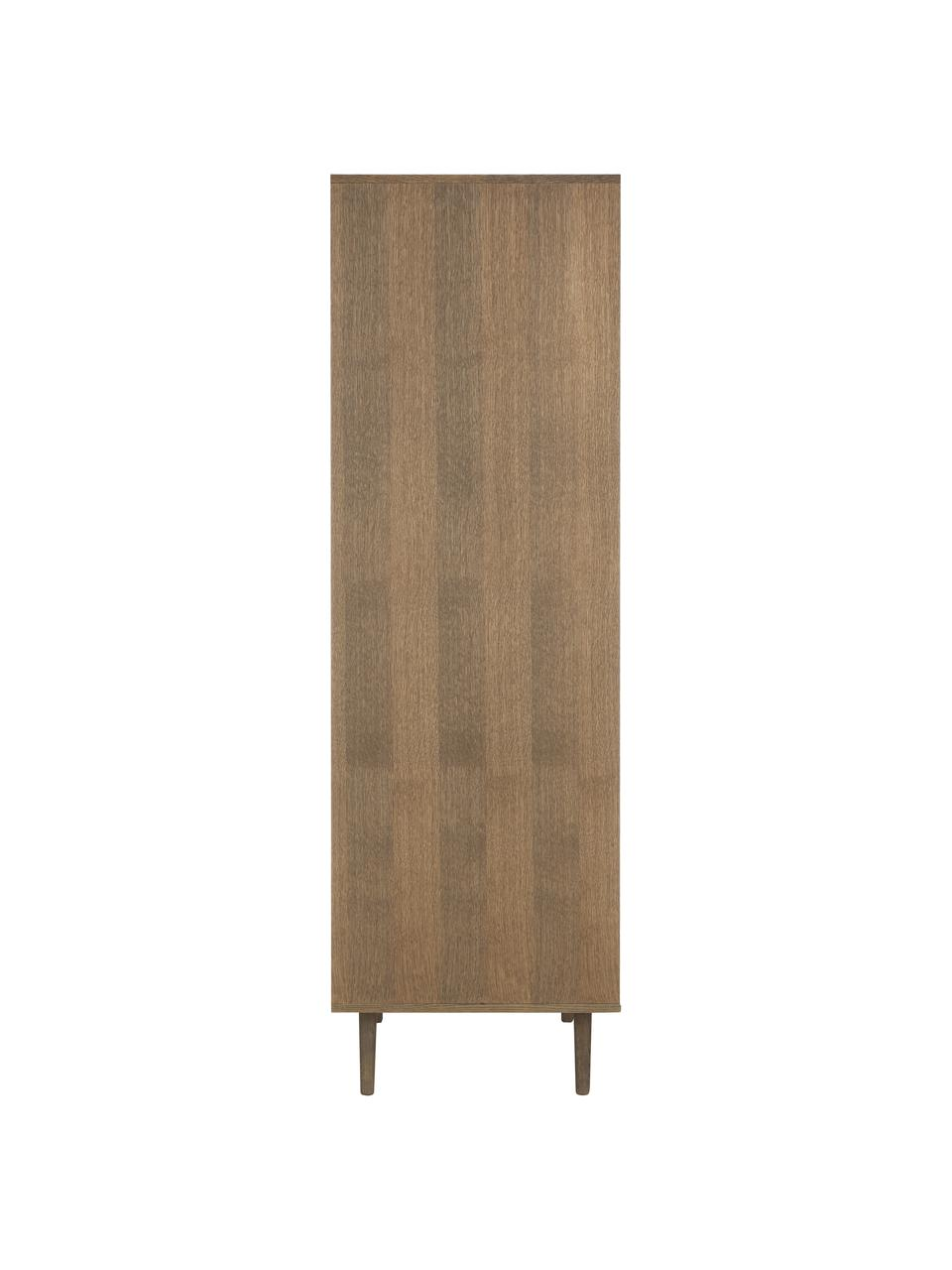 Kledingkast Aries in donkerbruin, Frame: spaanplaat met eikenhoutf, Poten: massief eikenhout, Donker hout, 100 x 194 cm