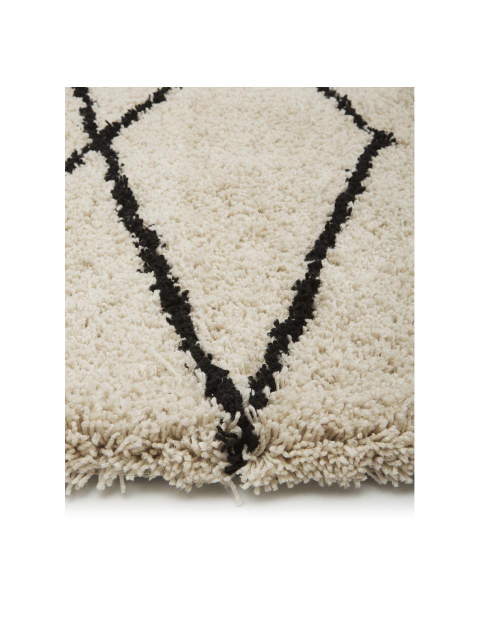 Passatoia a pelo lungo taftata a mano Naima, Retro: 100% cotone, Beige, nero, Larg. 80 x Lung. 300 cm