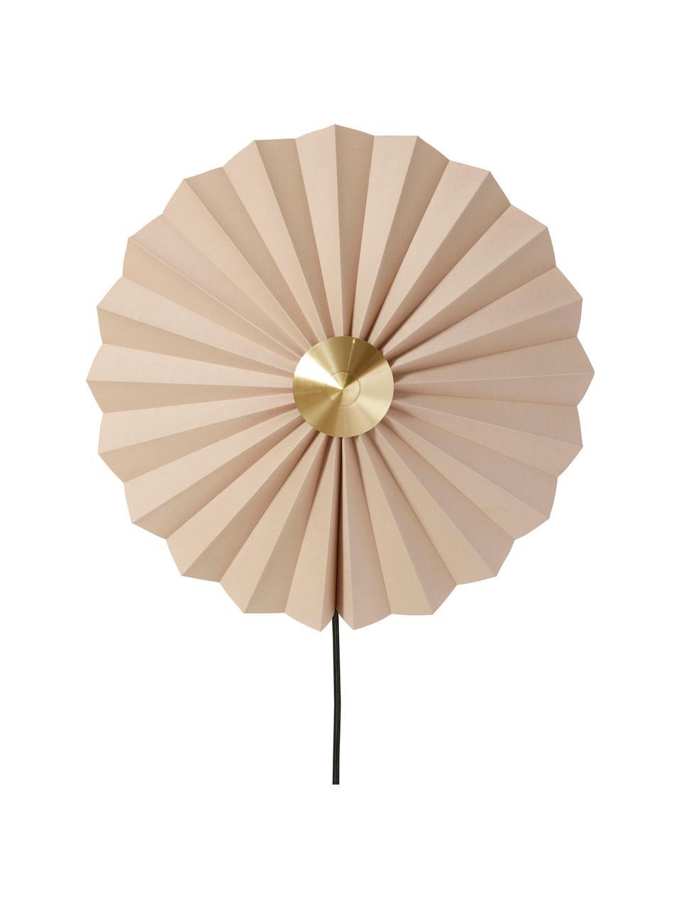Kinkiet z papieru z wtyczką Tenty, Beżowy, mosiądz, Ø 48 cm