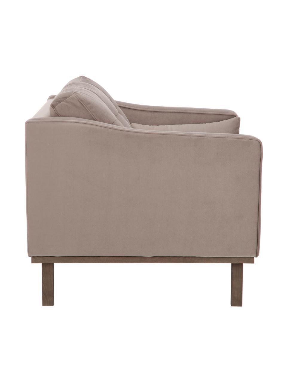 Fotel z aksamitu  z nogami z drewna bukowego Alva, Tapicerka: aksamit (wysokiej jakości, Nogi: lite drewno bukowe, barwi, Aksamitny taupe, S 102 x G 92 cm