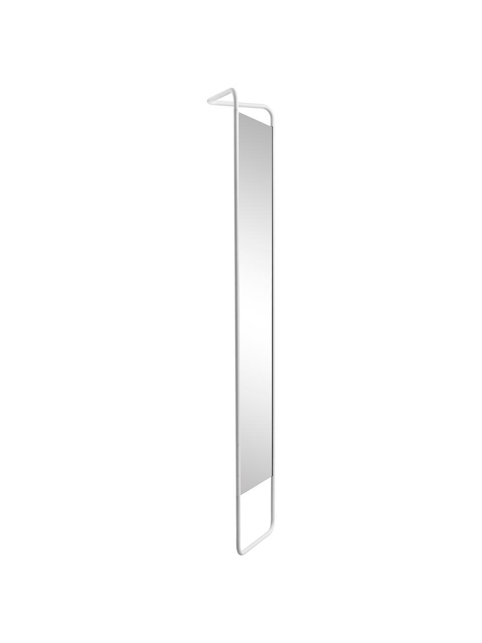 Eckiger Anlehnspiegel Kasch mit weißem Aluminiumrahmen, Rahmen: Aluminium, pulverbeschich, Spiegelfläche: Spiegelglas, Weiß, 42 x 175 cm