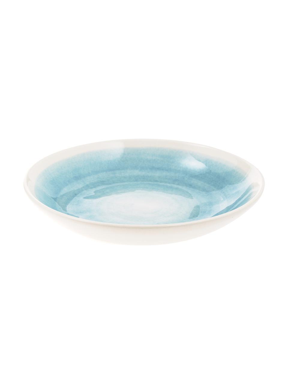 Assiette creuse artisanale céramique Pure, 6pièces, Bleu, blanc