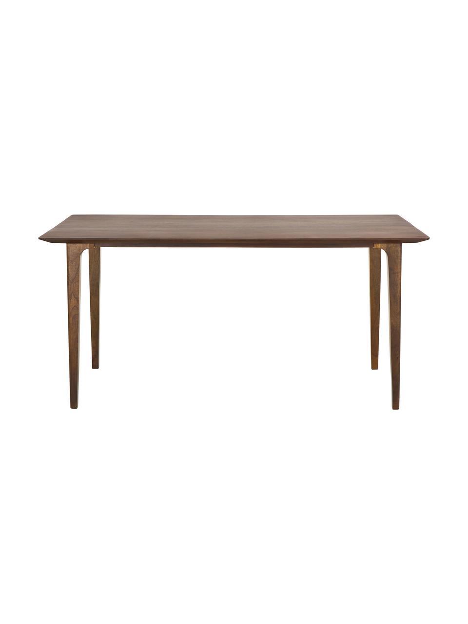 Table vintage en bois massif Archie, 160 x 90 cm, Bois de manguier, laqué foncé