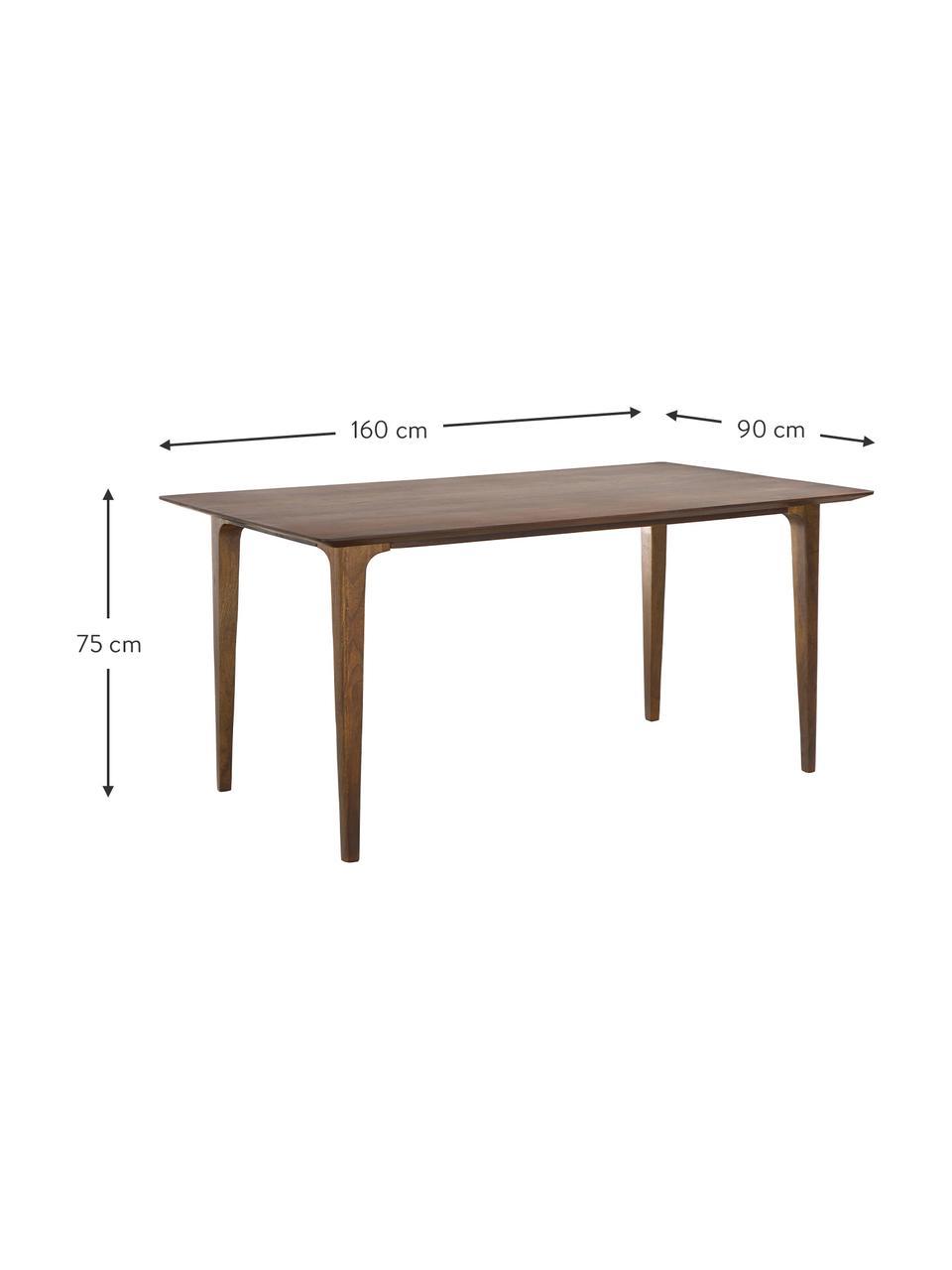 Tavolo in legno massello Archie, Legno massello di mango verniciato, Legno di mango, scuro verniciato, Larg. 160 x Prof. 90 cm