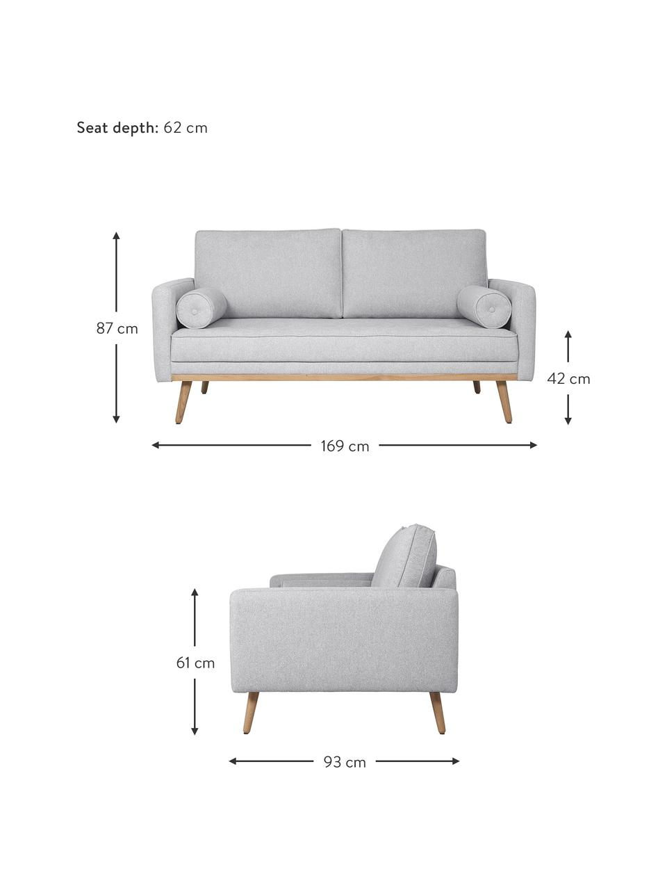 Sofa Saint (2-Sitzer) in Hellgrau mit Eichenholz-Füßen, Bezug: Polyester Der hochwertige, Gestell: Massives Kiefernholz, Spa, Webstoff Hellgrau, B 169 x T 87 cm
