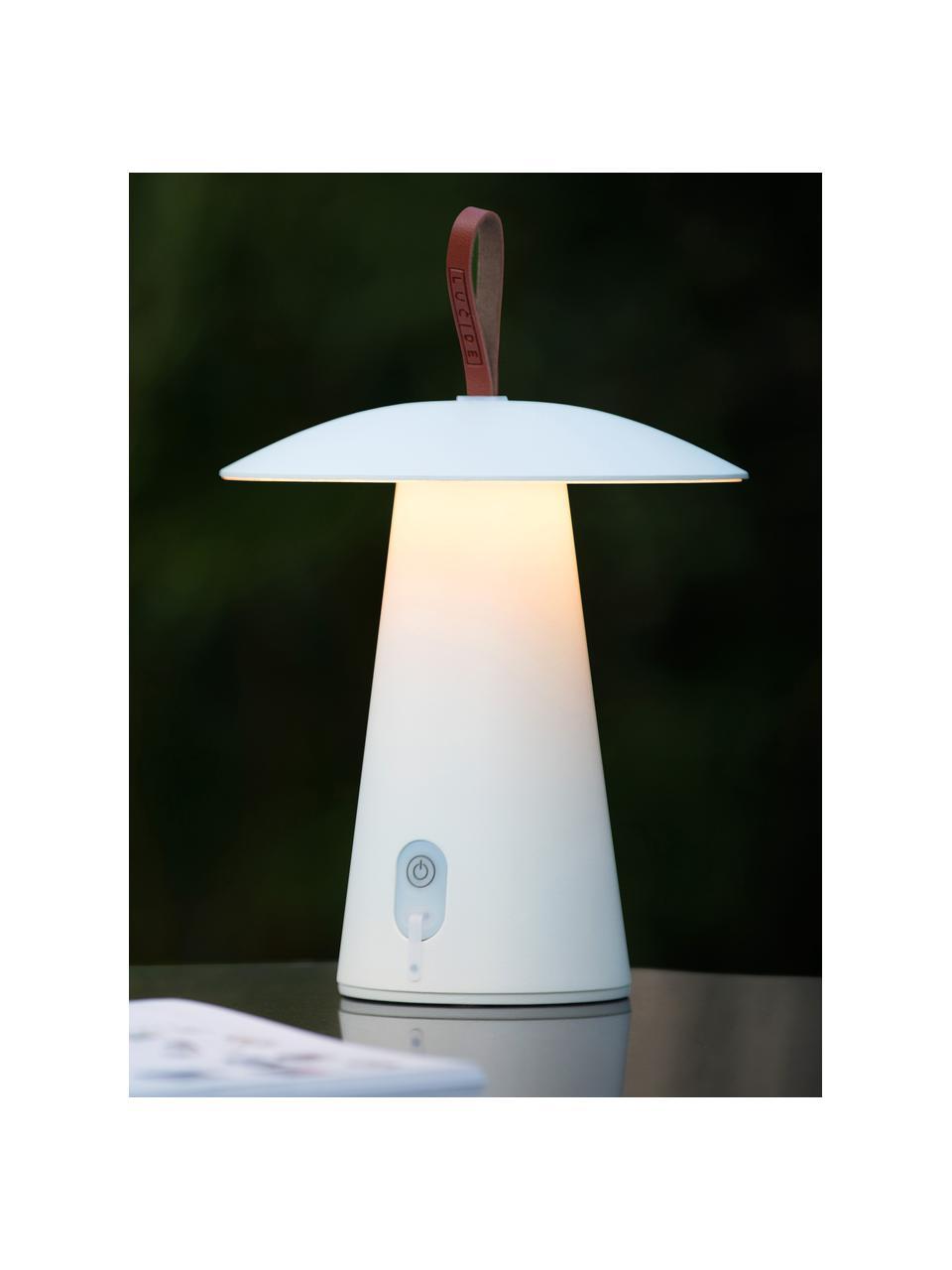 Mobile Dimmbare Außentischlampe La Donna, Lampenschirm: Aluminium, beschichtet, Lampenfuß: Aluminium, beschichtet, Griff: Kunstleder, Weiß, Ø 20 x H 29 cm