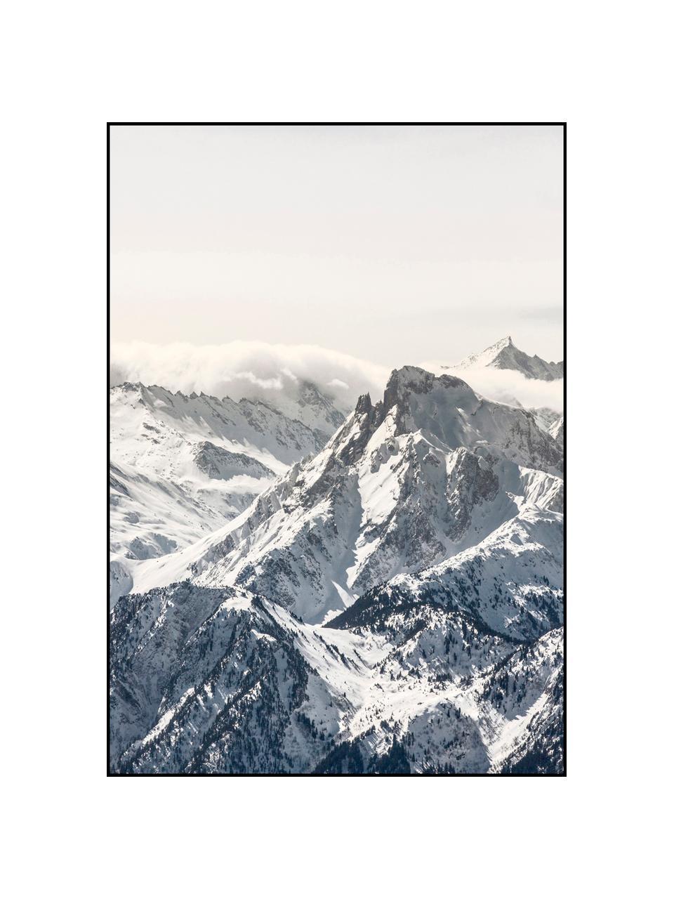 Impression numérique encadrée White Mountain, Noir, blanc, gris