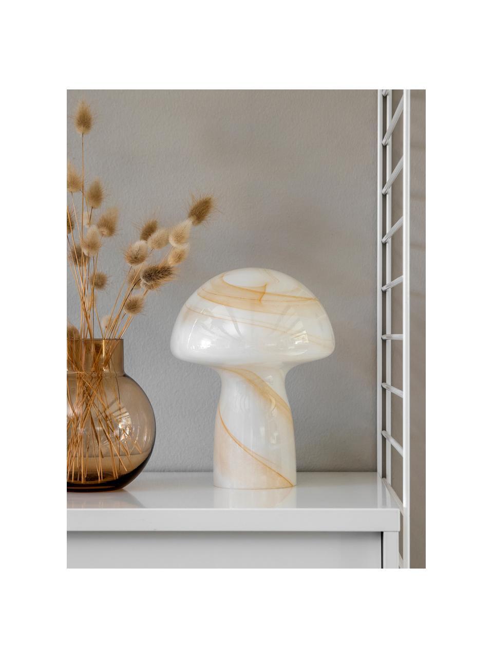 Kleine Handgefertigte Tischlampe Fungo, Weiß, Beige, Ø 22 x H 30 cm