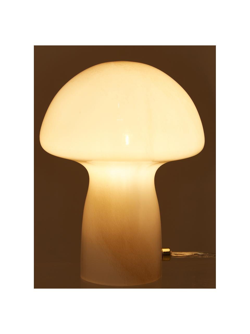 Ręcznie wykonana lampa stołowa Fungo, Biały, beżowy, Ø 22 x W 30 cm