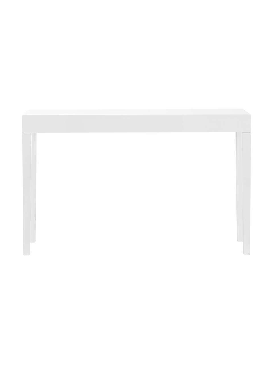 Handgemaakte sidetable Kayson, MDF, Wit, B 130 x D 34 cm