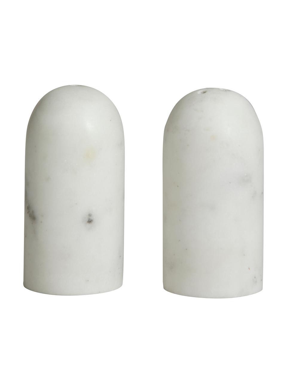 Komplet solniczki i pieprzniczki z maruru Isop, 2 elem., Marmur, Biały, Ø 4 x W 8 cm