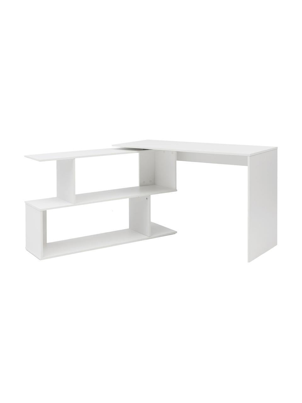 Hoekbureau Lemina in wit, Gelakt MDF, Mat wit, 119 x 49 cm