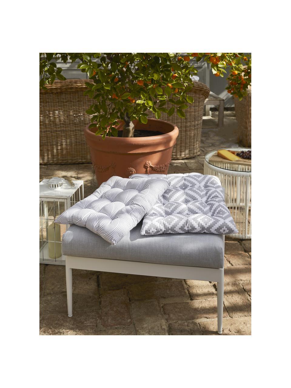 Sitzkissen Miami in Hellgrau/Weiss, Bezug: 100% Baumwolle, Grau, 40 x 40 cm