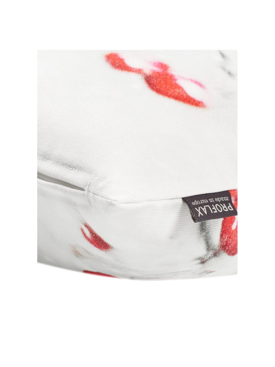 Housse de coussin rectangulaire Blanca, Blanc, rouge, gris