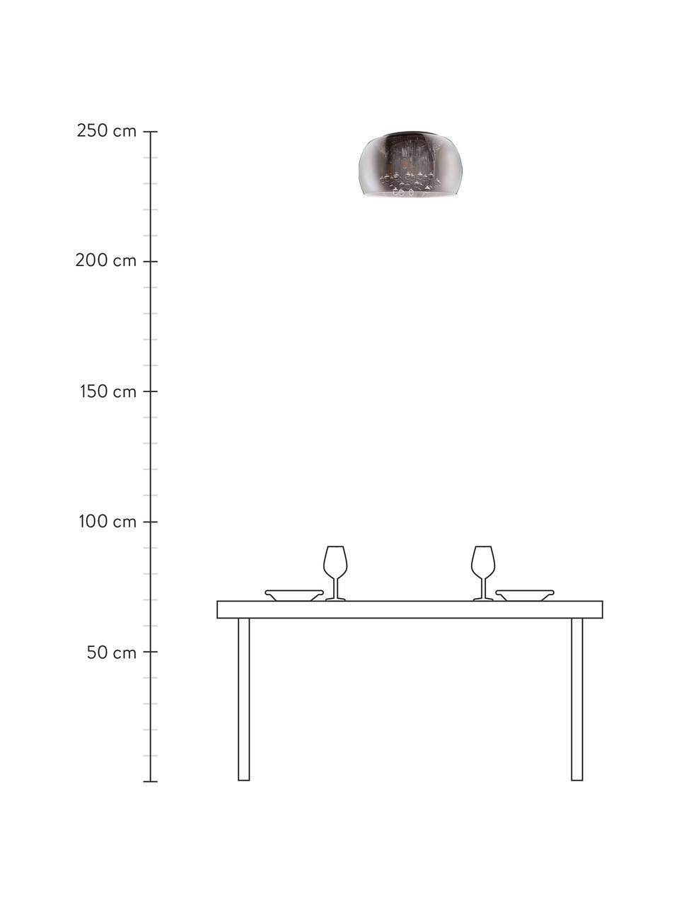 Kristall-Deckenleuchte Pearl aus Glas, Lampenschirm: Glas, Baldachin: Metall, Dunkelgrau, verspiegelt, Ø 50 x H 25 cm