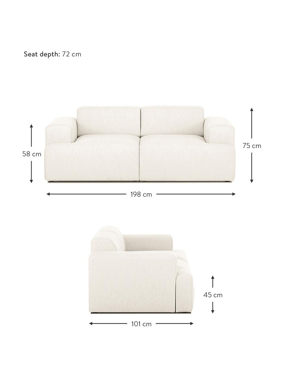 Bank Melva (2-zits) in beige, Bekleding: 100% polyester, Frame: massief grenenhout, FSC-g, Poten: kunststof, Geweven stof beige, 198 x 101 cm