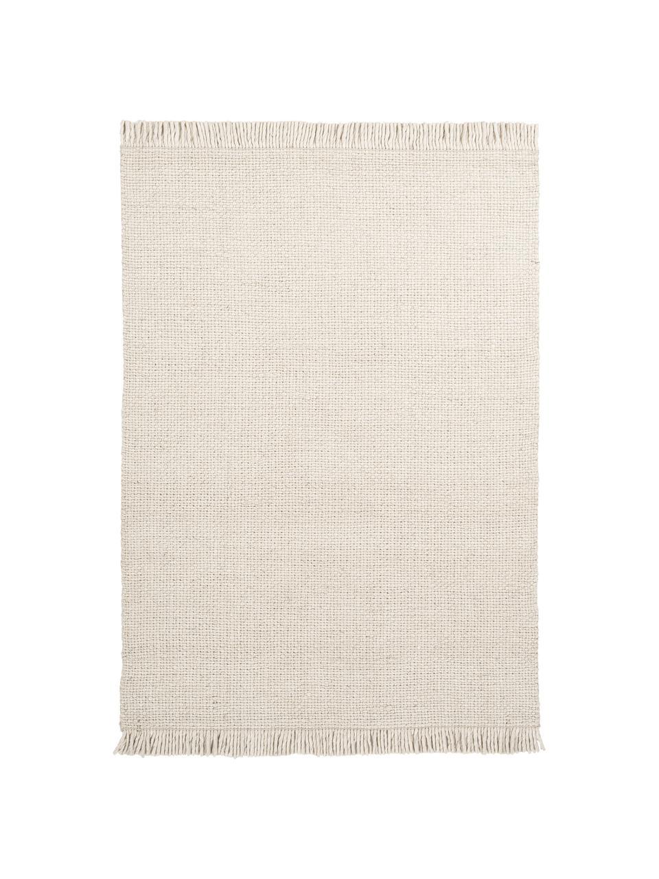 Tappeto in lana tessuto a mano color crema con frange Alvin, Retro: 100% cotone Nel caso dei , Crema, Larg. 80 x Lung. 150 cm (taglia XS)